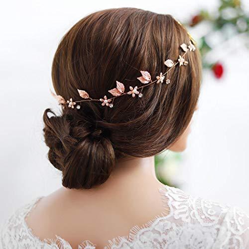 Yean Bride Wedding Hair Vine Headband Gold Leaf Bridal Accessories for Women (Rose Gold)