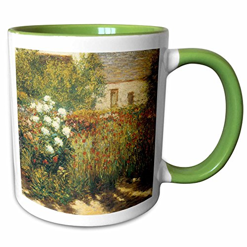 3dRose BLN Impressionist Fine Art Collection - Garden at Giverny by John Leslie Breck - 15oz Two-Tone Green Mug (mug_127308_12)