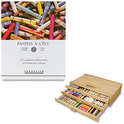 - Sennelier Pastels Art Gift Set & 3 Drawer Wood Pastel Storage Box - Sennelier Soft Full Stick Pastel Iridescent Colors - Set of 24