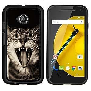 Gato American Curl Bobtail- Metal de aluminio y de plástico duro Caja del teléfono - Negro - Motorola Moto E2 / E(2nd gen)