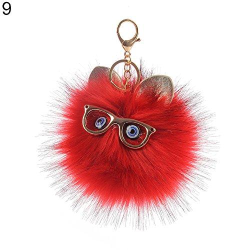 Cartoon Keychain - Shineweb Cartoon Owl Pom Pom Ball Key Chain Key Ring Keyring Keyfob Handbag Pendant Keychain Charm Red