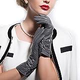 MATSU Classic Women Winter Warm Lambskin Leather Ruched Gloves M9021 (M, Gray-Long Fleece)