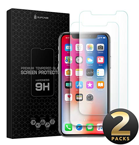 SUPCASE iPhone Xs Max 6.5 inch Screen Protector, [2-Pack] Full-Body Protective Case Friendly, Premium HD 2.5D Edge Tempered Glass for iPhone Xs Max 6.5 inch Anti-Scratch, Flexible Anti-Shatter
