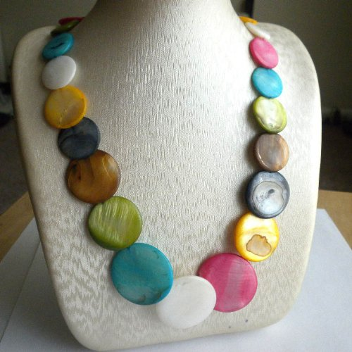 Beading Station Mix Color Coin Shaped Mother of Pearl Shell Necklace with O-Clasp, - Pearl Necklace Coin Station