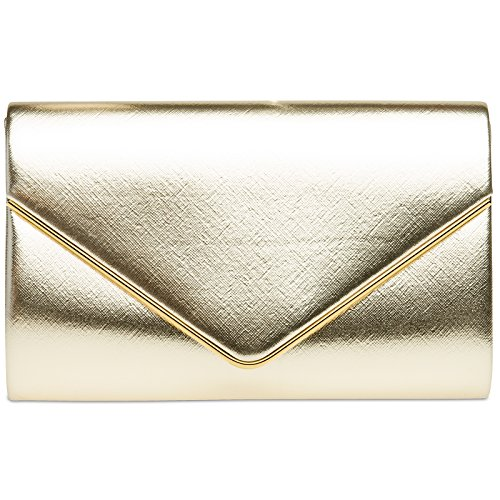 Gold Bag with CASPAR Clutch Detachable Chain TA372 Envelope Ladies Evening Elegant qvwSpUqA