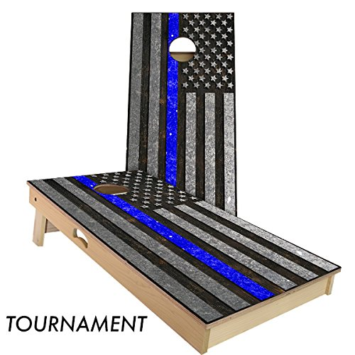 Police Thin Blue line 4' x 2' tournament bean bag toss by Slick Woody's Cornhole Co.