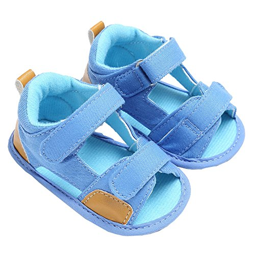 Image of Baby Boys Summer Breathable Denim Open-Toe Beach Walking Two-Strap Sandals