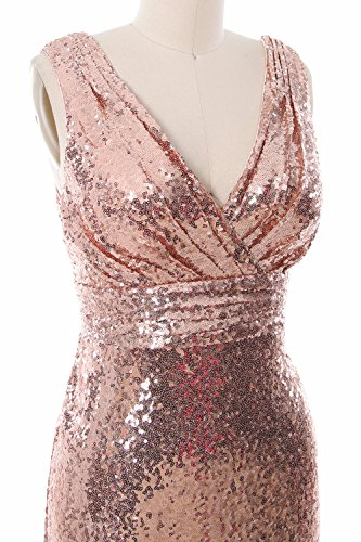 MACloth Women Long Bridesmaid Dress 2017 Sequin V Neck Formal Party Evening Gown Champagne