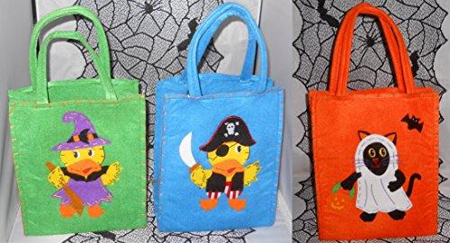 ハロウィンのセット3フェルトtrick-or-treatキャンディバッグ海賊、魔女、ゴースト
