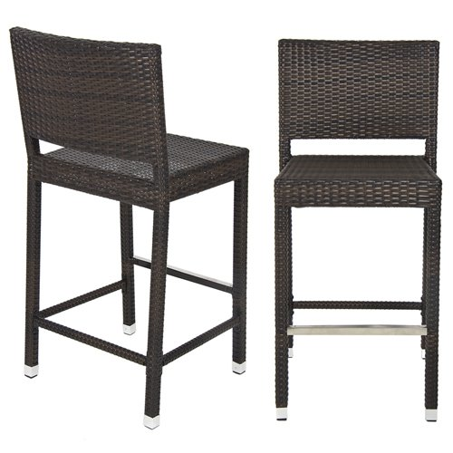 Amazon.com: Best Choice Products Outdoor Wicker Barstool All Weather Brown Patio  Furniture New Bar Stools: Garden U0026 Outdoor
