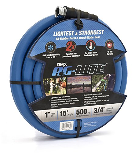 AG-Lite Rubber Hot & Cold Water Rubber Contractor, Farm & Ranch Hose: Ultra-Light & Super Strong - 10 Year Warranty (1