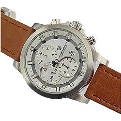 Pagani Design 44mm white dial Leather Strap chronograph quartz mens watch 2129
