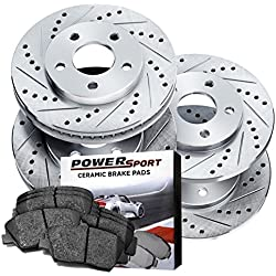 Power Sport Cross Drilled Slotted Brake Rotors and Ceramic Brake Pads Kit -80297 [Front & Rear]