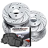 hummer h3 2007 drop kit - Power Sport Cross Drilled Slotted Brake Rotors and Ceramic Brake Pads Kit -81010 [Front & Rear]