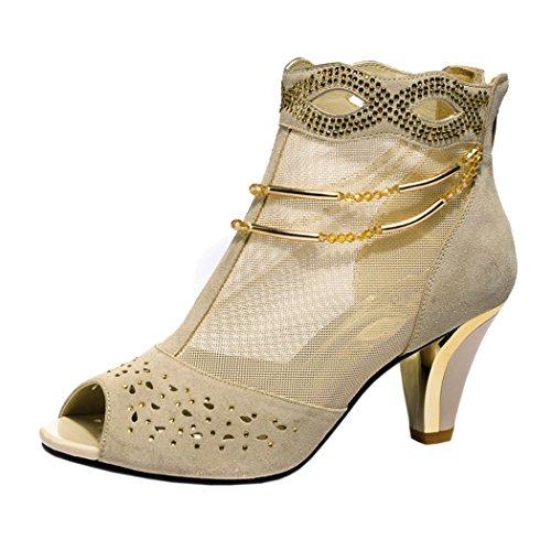Guciheaven Women New Style Beautiful Lace Mesh Peep Toe Rhinestone Shoes(7 B(M)US, Beige)