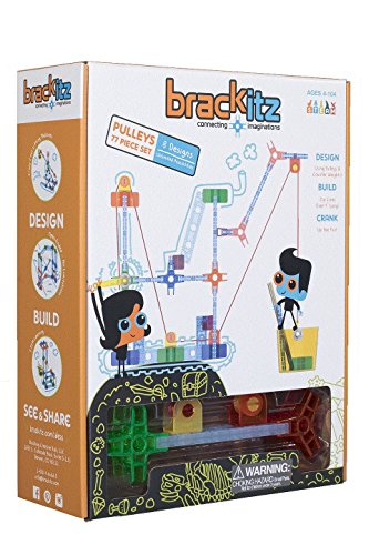 Brackitz Pulleys 77 Piece Set Educational Construction Set - Learning Toys & Building Blocks for Kids