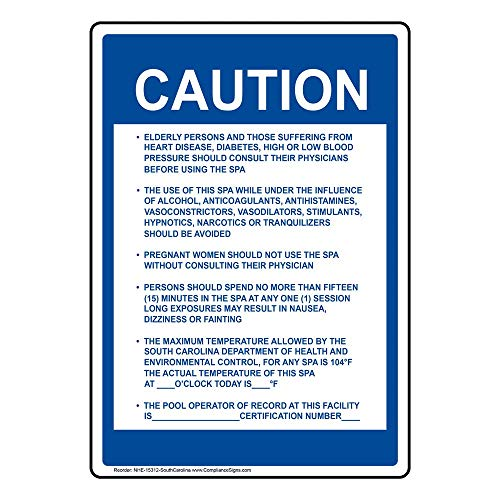 (South Carolina Caution Spa Pool Warning Sign, 14x10 in. Aluminum for Recreation by ComplianceSigns)