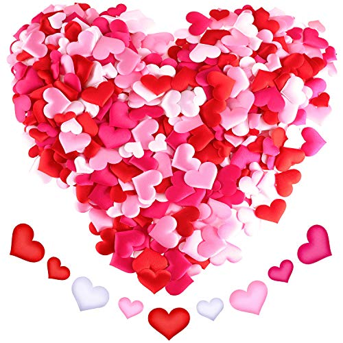 - Sumind 680 Pieces Heart Shape Petals Heart Confetti Satin Hearts Scatter for Valentine's Day Weddings Decoration, 4 Colors and 2 Sizes