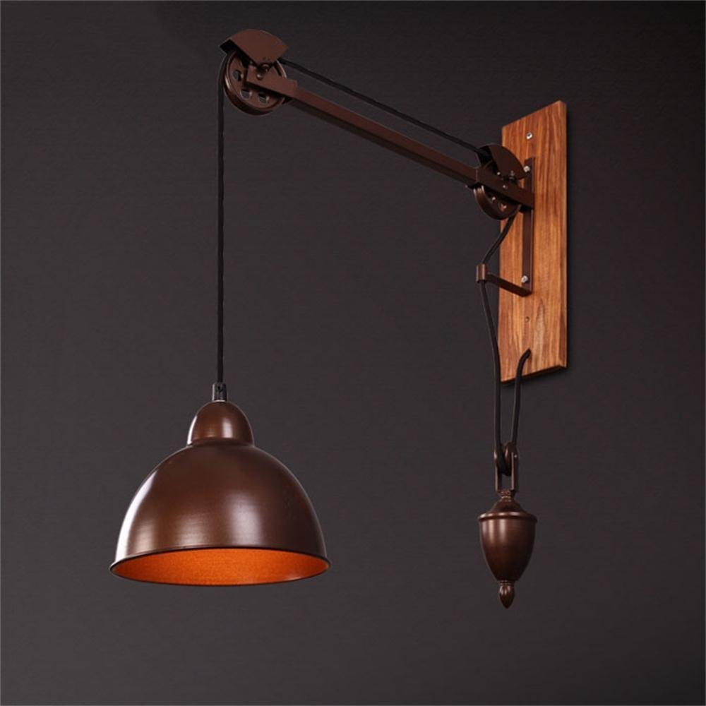 HOMEE Wall lamp- pastoral style retro industrial wall wood creative personality long arm coffee shop drawstring wall light --wall lighting decorations