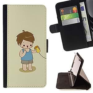For HTC One A9 Case , Cabrito que juega lindo Niño Bebé Madre- la tarjeta de Crédito Slots PU Funda de cuero Monedero caso cubierta de piel