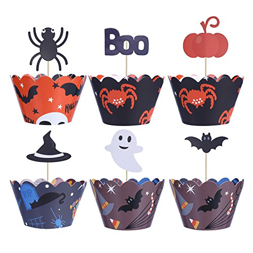 LOKIPA Halloween Supplies Cupcake Wrappers and Toppers 48 Pack Cake Decrorations for Children Party -
