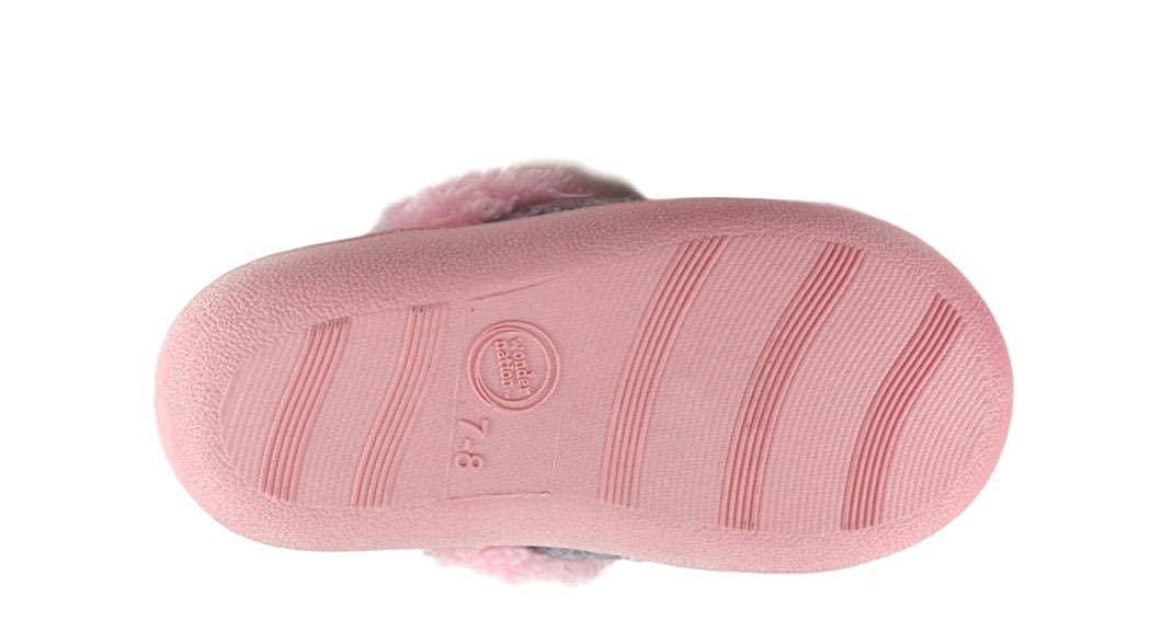 Elephant Toddler Girls Slippers with Elephant Ears Gray with Pink Sherpa Lining Indoor//Outdoor Sole