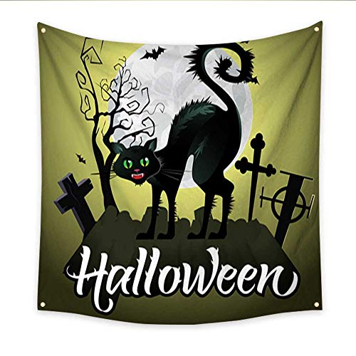Anniutwo Tapestry Kids Halloween Lettering Hissing Black cat on Graveyard Bats Moon Home Decorations 47W x 47L -