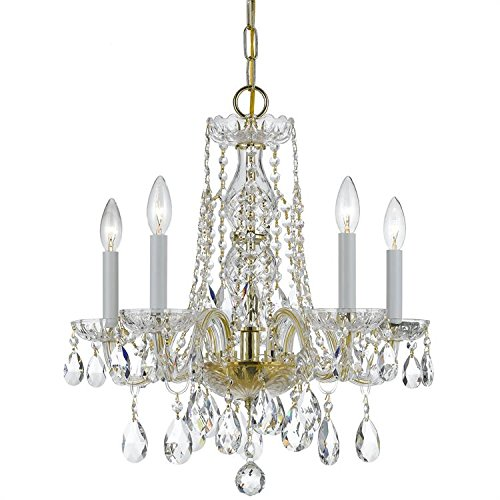 Crystorama 1061-PB-CL-MWP, Traditional Crystal 1 Tier Chandelier Lighting, 5 Light, 300 Watts, Brass