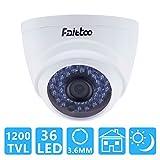 Faittoo HD 1200TVL CCTV Security Indoor Dome Camera with 36 IR LEDs 3.6mm Lens IR Cut-85ft Day Night Vision Distance, CMOS Sensor Wide Angle Surveillance Analog Camera (Plastic Housing White)