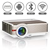 Bluetooth Wireless LCD Projector WXGA Android Wifi 5000 Lumen Multimedia Smart HD LED Home Theater Video Projector Support 1080P HDMI USB VGA AV for Smartphone TV DVD Game Outdoor Movie