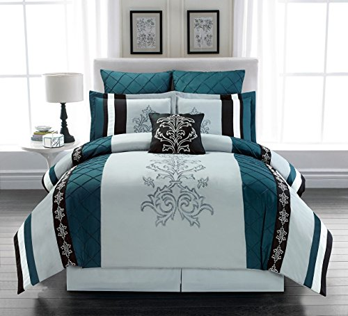7 Piece Magee Teal/Gray Comforter Set Queen (Gray And Teal Bedroom)