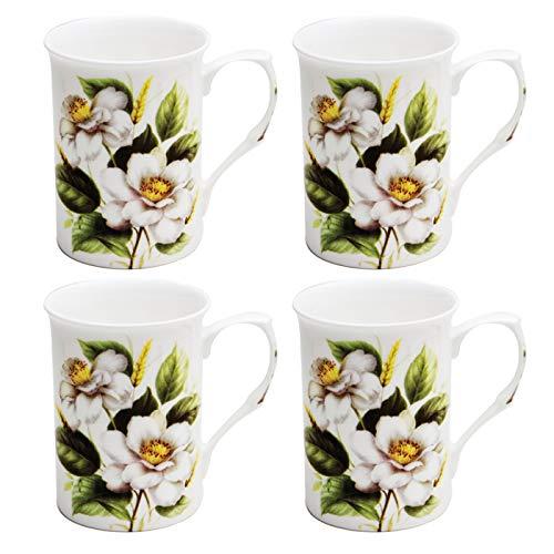 Grace Teaware Bone China Coffee Tea Mugs 9-Ounce (White Magnolia) (Set of 4) (Tall Bone China Mug)