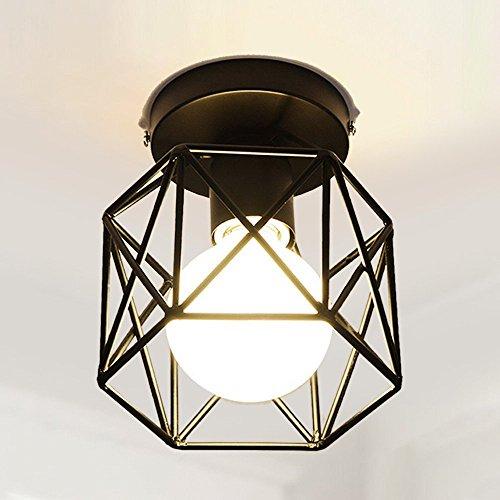 - Semi Flush Mount Ceiling Light Fixture, Semi Flush Mount Ceiling Light Fixture, Retro Industrial Vintage Style Mini Painting Metal Rustic Flush, for Hallway, Living Room, Bedroom Decor