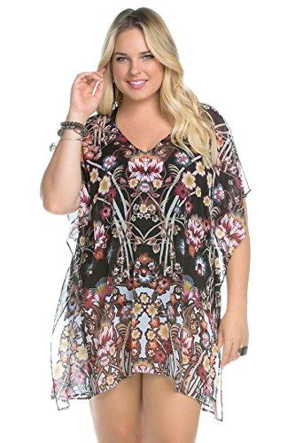 BECCA-ETC-Womens-Plus-Size-Havana-Floral-Cover-up-Chiffon-Cold-Shoulder-Tunic-Multi-2X