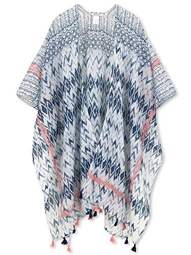Moss Rose Women's Beach Cover up Swimsuit Kimono Cardigan with Bohemian Floral Print (Color - Print Wrap Geo