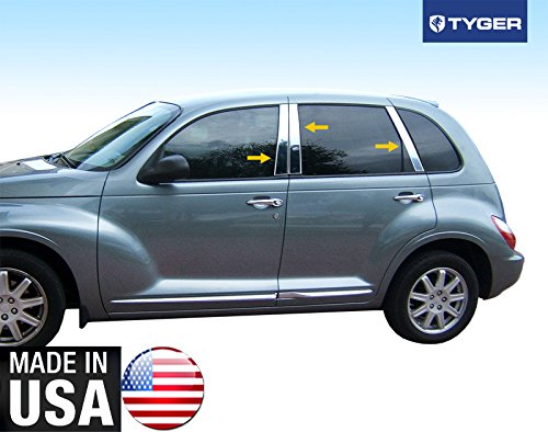 Made in USA! Works with 1999-2011 Chrysler PT Cruiser 6PC Stainless Steel Chrome Pillar Post Trim ()