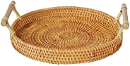 Hand-Woven Rattan Round Serving Tray with Handles Tea Bread Coffee Table Basket Perfect Display Decor Baskets