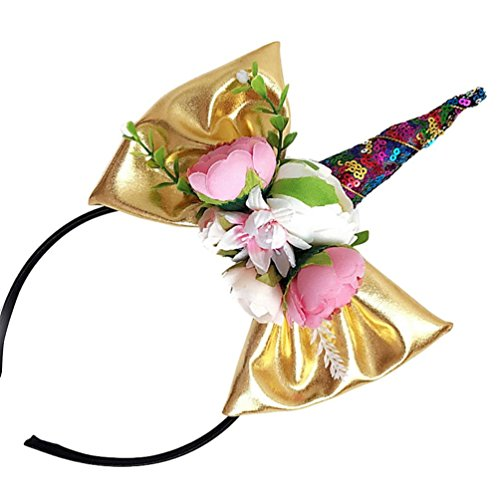Makaor Girl Costumes Unicorn Headband Party Headdress Kids Flower Hairband (Gold, Suit for 6 months to 3 years old baby)
