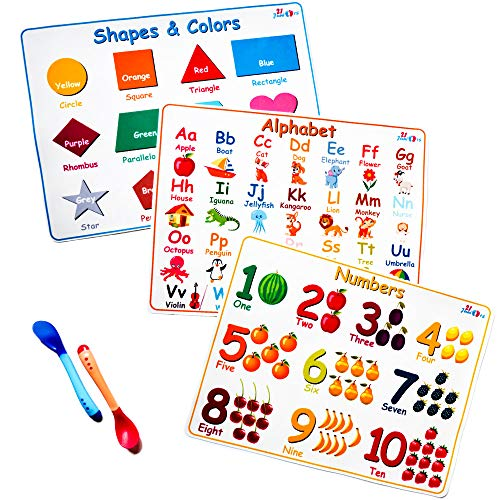 21Juniors Educational Silicone Kids Placemats - Portable Set of 3 : Alphabet, Numbers, Shapes & Colors - Non Slip and Washable with 2 Heat Sensitive Silicone Spoons for Baby