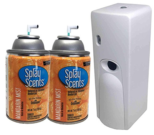 Automatic Mist Dispenser (Automatic Spray Air Freshener Kit (2) Refills with (1) Dispenser - Spray Scents - Mandarin Mist)