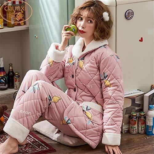 Pijama Informal L Coral Mujer Hogar Invierno Cálido Xl Traje Larga Suave Baijuxing E Franela Otoño De Para Manga Con UqaxnSEO