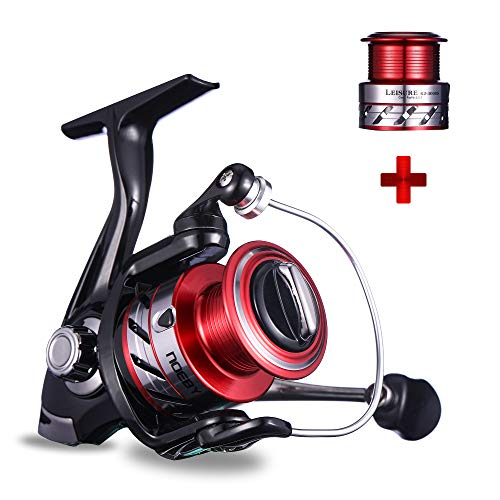 NOEBY Fishing Reels + Shallow Spool 5+1BB Spinning Reels Ultra Smooth Reel for Saltwater or Freshwater Bass (Red 2000 + Shallow Spool 3000)