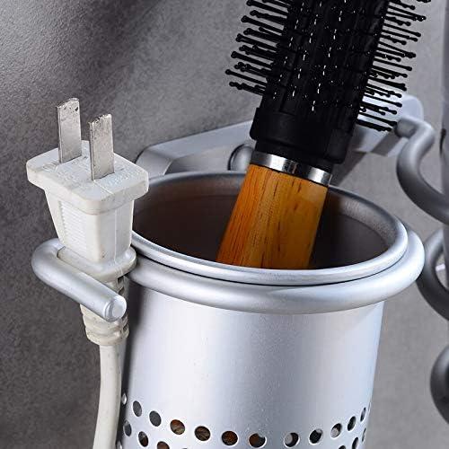 Hair Dryer Organizer Wall Mount Hair Blow Dryer Hanging Rack Spiral Hair Styling Stand Organizer With Cup Perfect Bathroom Washroom Accessories Storage Shelf Aluminum Set Tokenhigh Hair Dryer Holder