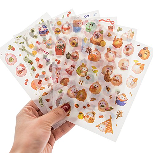 Qingsun Cute Animal Sticker Cartoon Diary Scrap Book Scrapbooking Decor Decoration Lot Stationery for Girl (D)