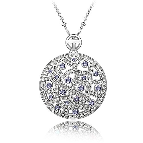 AFSSHOPPING Gifts for Women Multi-Gemstone Medallion Pendant Necklace Made with Swarovski Crystals Chain Length 16.0