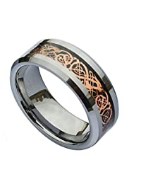 NELSON KENT Men 8mm Tungsten Carbide Ring Celtic Dragon Rose Gold Carbon Fibre Inlay Wedding Band