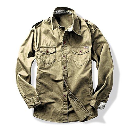 Field Shirt - OCHENTA Men's Long Sleeve Button Down Military Style Shirt Khaki Asian Tag 3XL - US L