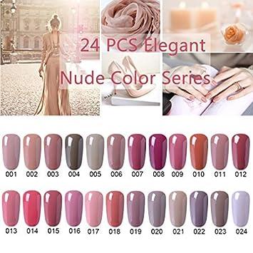 9102cb75ac Amazon.com : CLAVUZ Gel Nail Polish 24pcs Soak Off Gel Nail Polish Kit Nail  Art Manicure Pedicure New Starter Nude Color Gift Set : Beauty