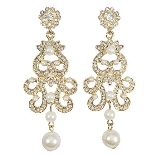 Vintage Pearl Chandelier Earrings - Vintage Look Chandelier Fancy Formal Swing Dangle Earrings (Imitation Pearl Gold Tone)