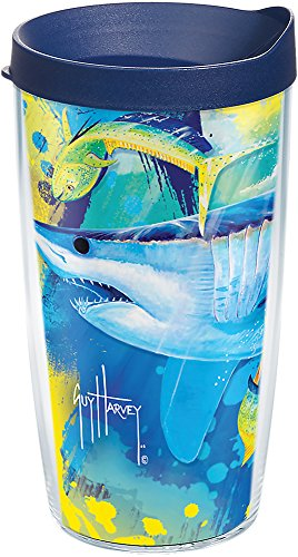 Tervis 1286916 Guy Harvey - Mirage Shark Tumbler with Wrap and Navy Lid 16oz, Clear